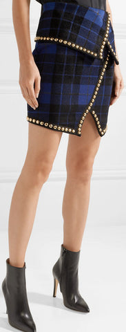 Asymmetric Embellished Tartan Jacquard Knit Mini-Skirt
