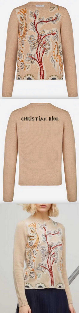 'Contes Russes' Cashmere Sweater - Beige, Green or Pink | DESIGNER INSPIRED FASHIONS