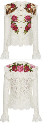 Floral-Embroidered Lace Blouse