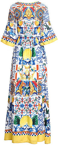 1a7e7fc5df3 Majolica Tile Print Maxi Dress – DESIGNER INSPIRED FASHIONS