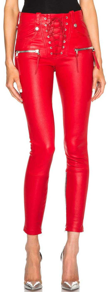 Lace Front Faux-Leather Skinny Pants in Red
