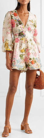 'Heathers' Picot-Trimmed Floral-Print Playsuit