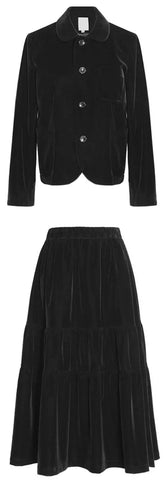 Black Velvet Single-Breasted Jacket and Pleated Skirt Set | DESIGNER INSPIRED FASHIONS