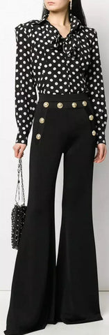 Decorative Button Flared Trousers, Black