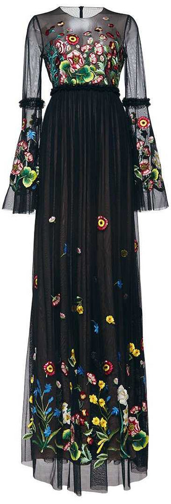 Black Long Floral Embroidered Mesh Gown - DESIGNER INSPIRED FASHIONS