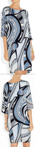 Abstract Printed Jersey Silk Tunic Dress in Blue