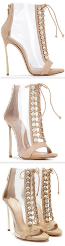 'Lena' Transparent Open-Toe Ankle Boots, Nude/Beige