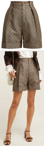 GG High-Rise Cotton and Wool-Blend Shorts