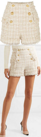 Button-Embellished Tweed Shorts