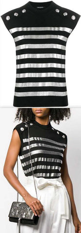 Stripe Knitted Top, Black | DESIGNER INSPIRED FASHIONS