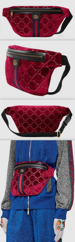 GG Velvet Belt Bag, Red | DESIGNER INSPIRED FASHIONS