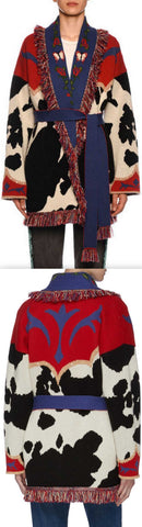Cow-Intarsia Belted Cashmere Cardigan in Multi Pattern | DESIGNER INSPIRED FASHIONS