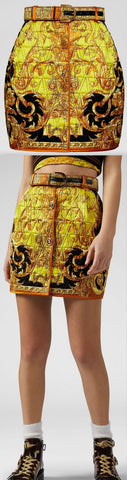 Barocco Femme Print Quilted Skirt | DESIGNER INSPIRED FASHIONS