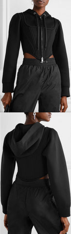Cropped Paneled Hoodie | DESIGNER INSPIRED FASHIONS