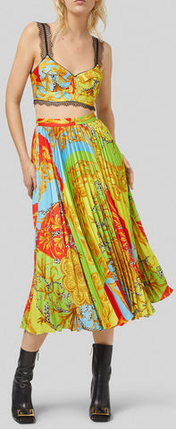 'Summer Capsule' Print Pleated Midi Skirt