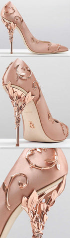 'Eden' Pumps with Metal Leaves, Rose/Pink - DESIGNER INSPIRED FASHIONS