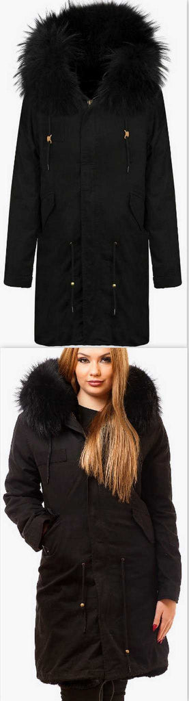 Black Fur Parka Coat - DESIGNER INSPIRED FASHIONS