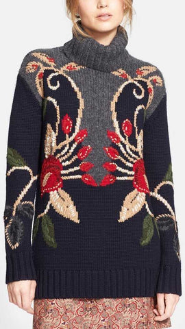 'Rianna' Embroidered Oversize Turtleneck Sweater - DESIGNER INSPIRED FASHIONS