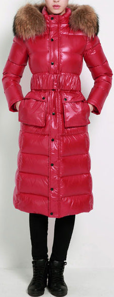 Paneled Puffer Coat with Removable Fur, Red