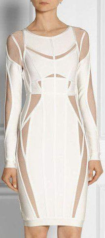 'Angelique' Color-Block Bandage Dress-White | DESIGNER INSPIRED FASHIONS