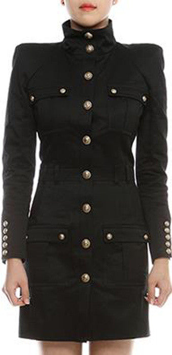Black Military Style Dress - DESIGNER INSPIRED FASHIONS