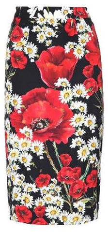 Daisy and Poppy Print Pencil Skirt