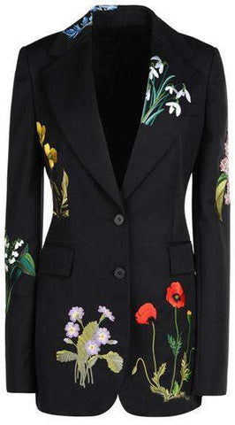 Black Floral Embroidered Blazer-Jacket | DESIGNER INSPIRED FASHIONS