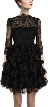 Black Ruffled Lace-Panel Dress - DESIGNER INSPIRED FASHIONS