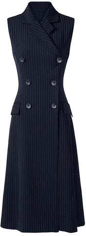 Pinstripe Double-Breasted Vest-Dress | DESIGNER INSPIRED FASHIONS