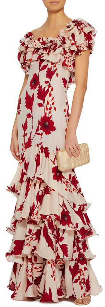 'Victoria Falls' Crepe Ruffle Floral Printed Dress