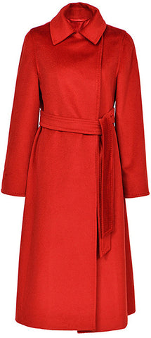 Belted Wool Wrap Coat, Red