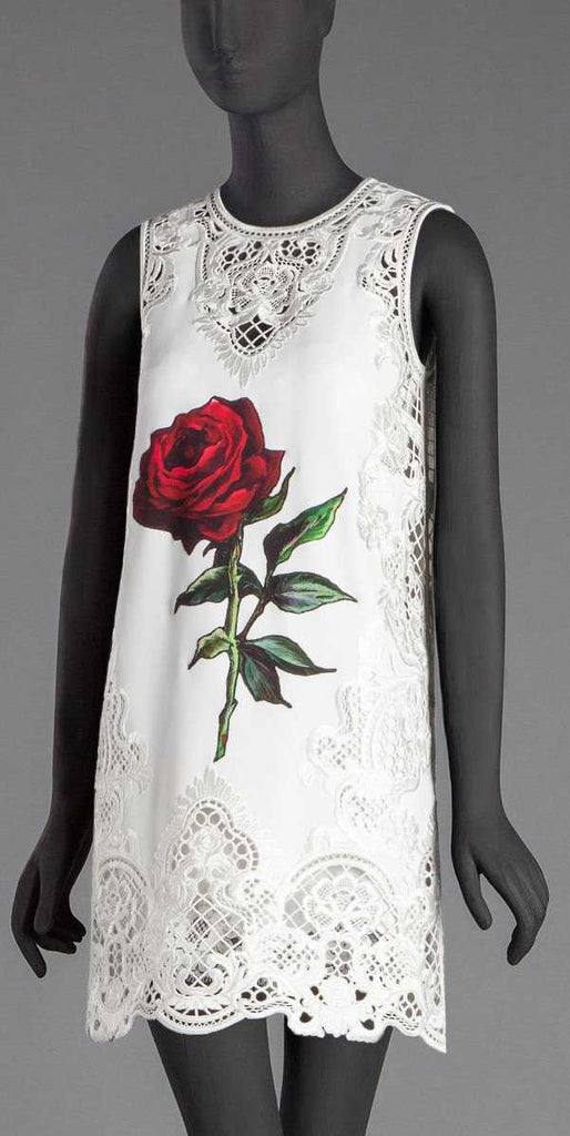 Embroidered Rose Printed White Mini Shift Dress - DESIGNER INSPIRED FASHIONS