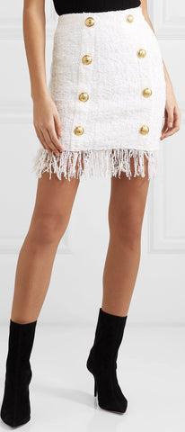 Button-Embellished Fringed Bouclé Mini Skirt | DESIGNER INSPIRED FASHIONS