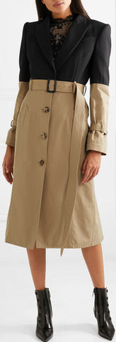 Belted Two-Tone Coat