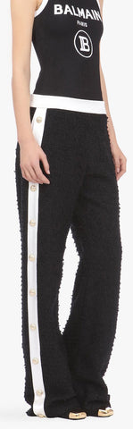 Flared Black and White Tweed Pants with Buttoned Legs | DESIGNER INSPIRED FASHIONS