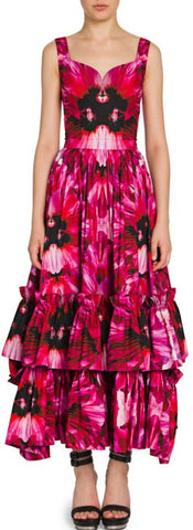 Orchid Print Ruffled Midi Dress | DESIGNER INSPIRED FASHIONS