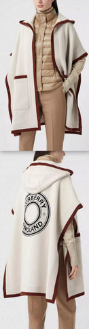 Logo Graphic Wool Cashmere Jacquard Hooded Cape, Canvas