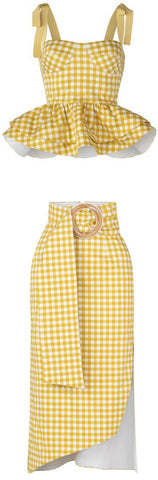 'Junquillo' Top and Skirt Set, Yellow Gingham