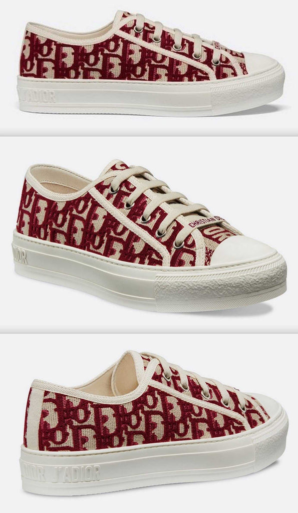 Logo Sneaker in Oblique Embroidered Canvas, Red