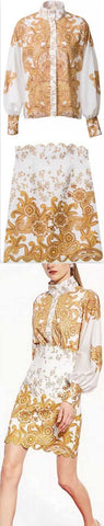 Gold Paisley Printed Blouse and Skirt Set | DESIGNER INSPIRED FASHIONS