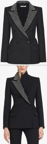 Jacket with Crystal Embroidered Peak Lapel | DESIGNER INSPIRED FASHIONS