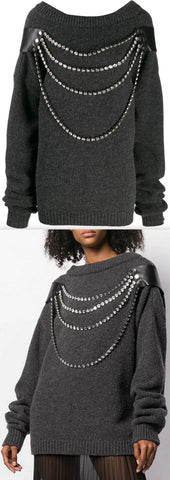 Oversized Crystal Knit Sweater | DESIGNER INSPIRED FASHIONS