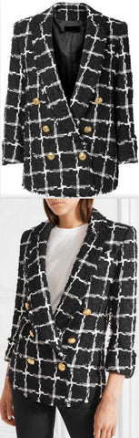 Black Double-Breasted Checked Tweed Blazer | DESIGNER INSPIRED FASHIONS