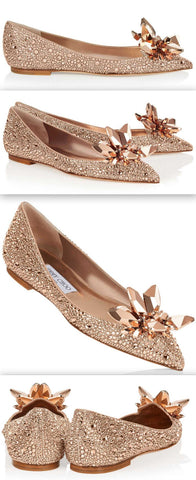 'ATTILA' Rose Gold Crystal Covered Pointy Toe Flats