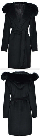 Fox Fur Hooded Wool Wrap Coat, Black