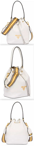 Leather Bucket Bag, White | DESIGNER INSPIRED FASHIONS
