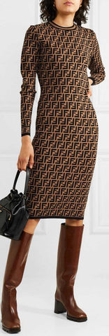 FF Logo Jacquard Knit Long-Sleeve Dress | DESIGNER INSPIRED FASHIONS