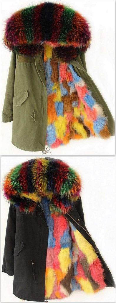Army Green or Black Fox Fur-Lined Multi-Blend Parka Jacket - DESIGNER INSPIRED FASHIONS