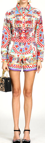 Carretto Print Blouse and Short Set