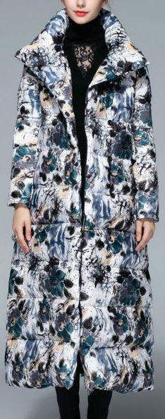 Long Floral Print Down Coat - DESIGNER INSPIRED FASHIONS